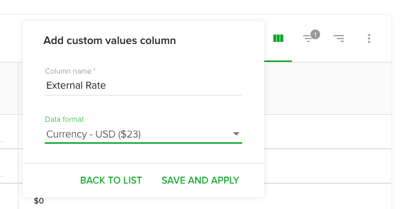 Add custom value - currency
