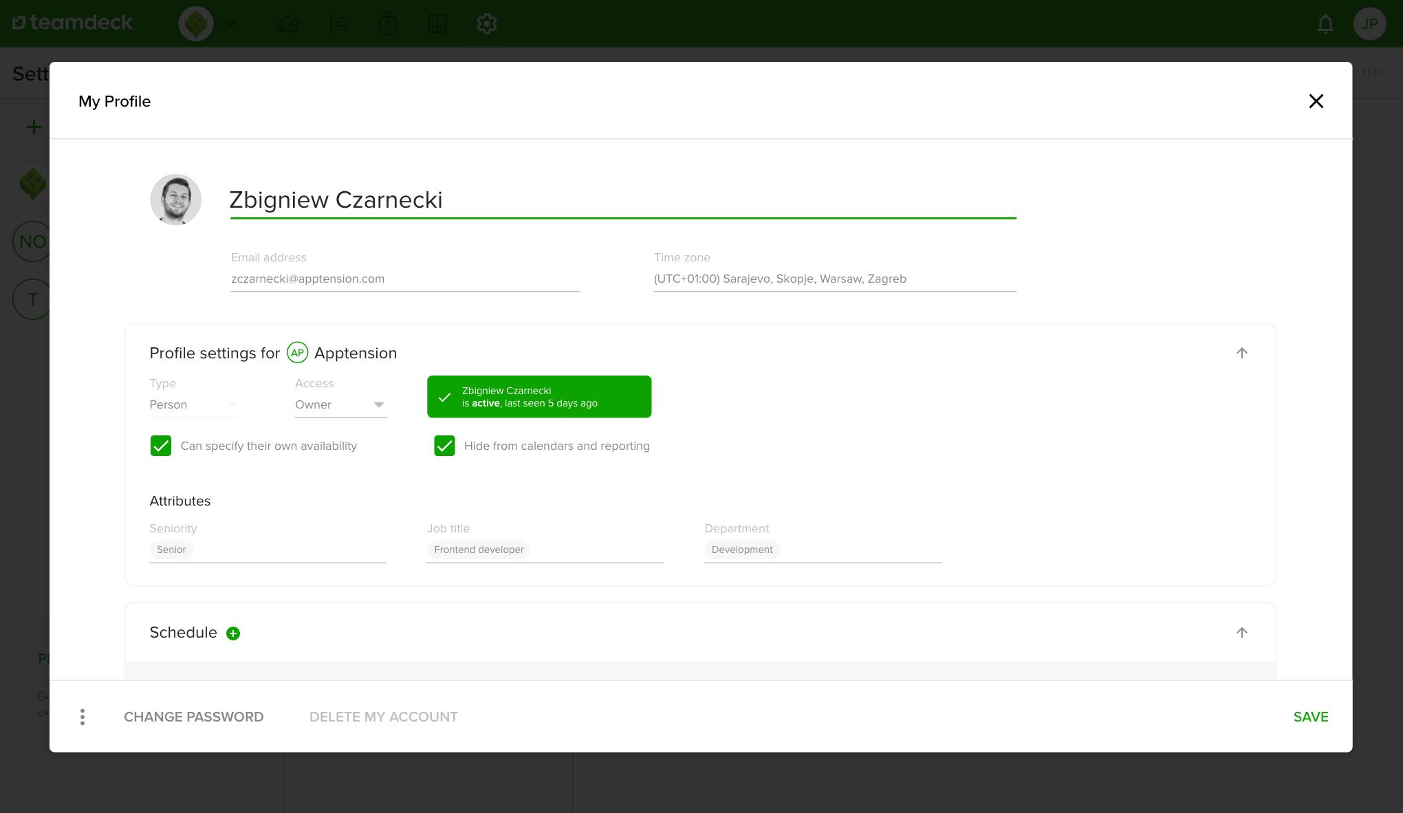 teamdeck user profile