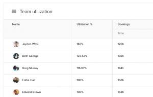 Team utilization report