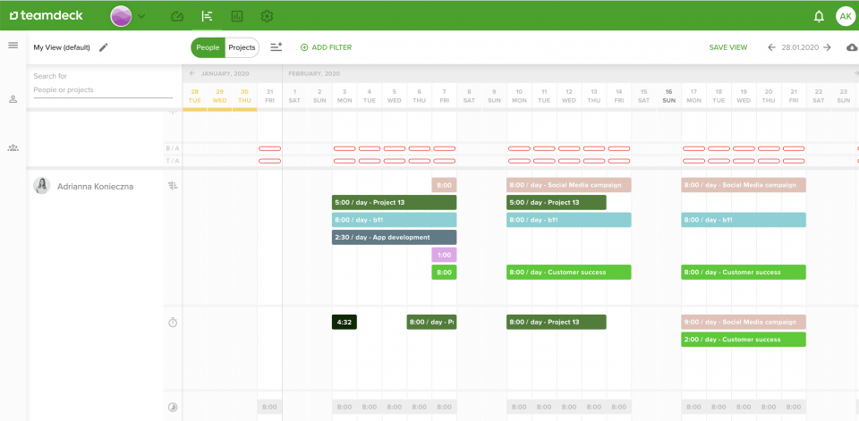 Check your team's availability with Teamdeck - hire for remote teams