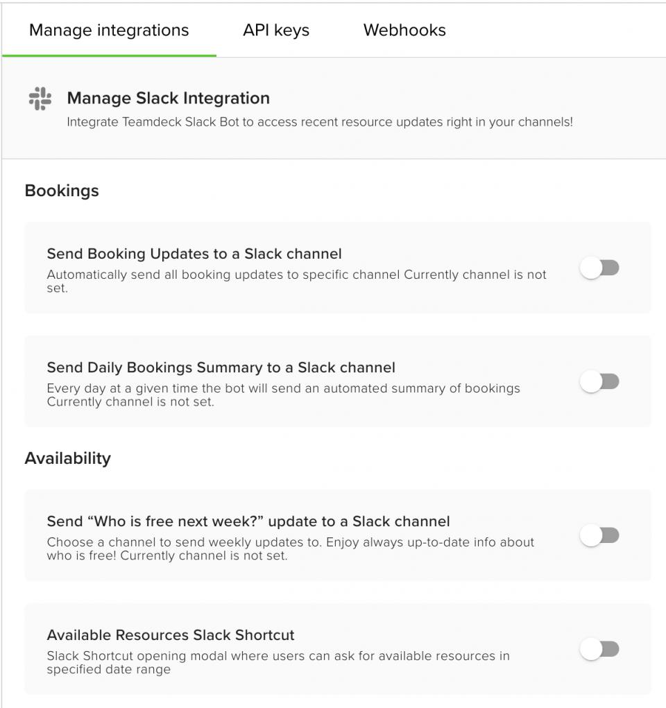 Teamdeck for Slack integration