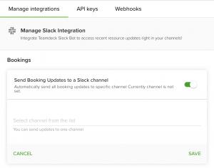 Manage Teamdeck for Slack integration