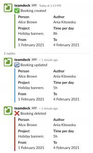Slack notification about new and updated bookings