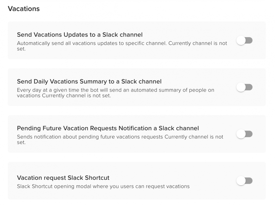 Teamdeck for Slack available notifications options