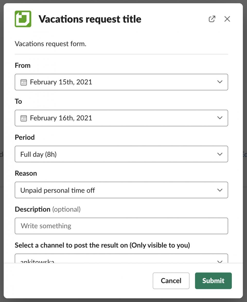Vacation requests via Slack