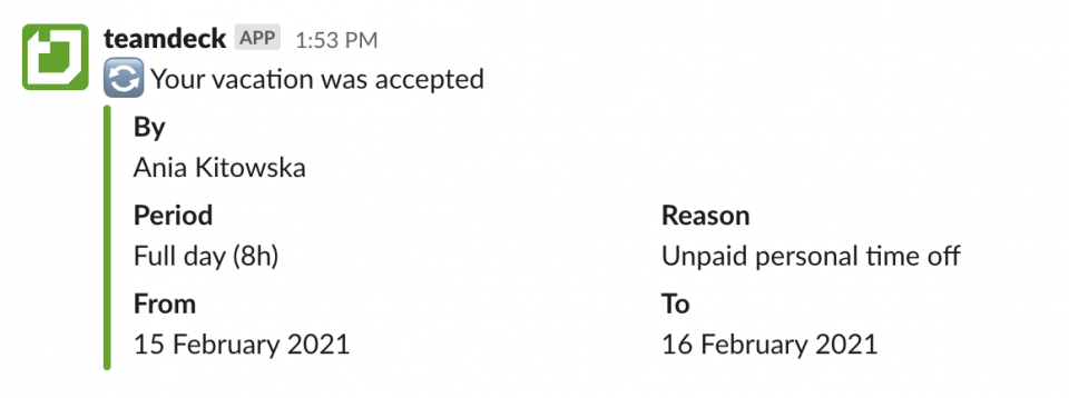 Handling time off requests via Slack